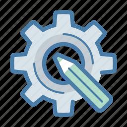 artistic, creative, custom design, gear, optimization, pencil, settings icon