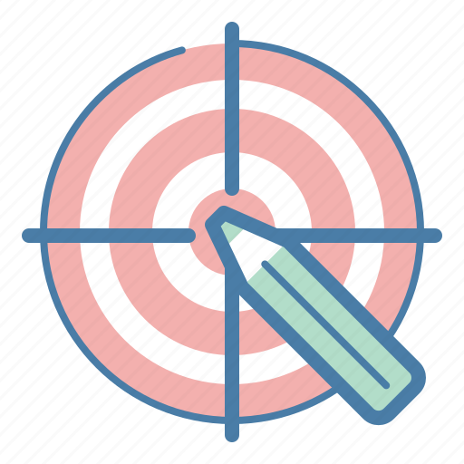 aim, audience, design, pencil, userfriendly icon