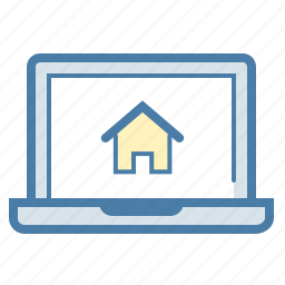 building, home loan, house renting, laptop, notebook, property, real estate icon