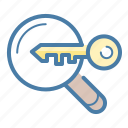 analytics, key, keyword engine, research icon