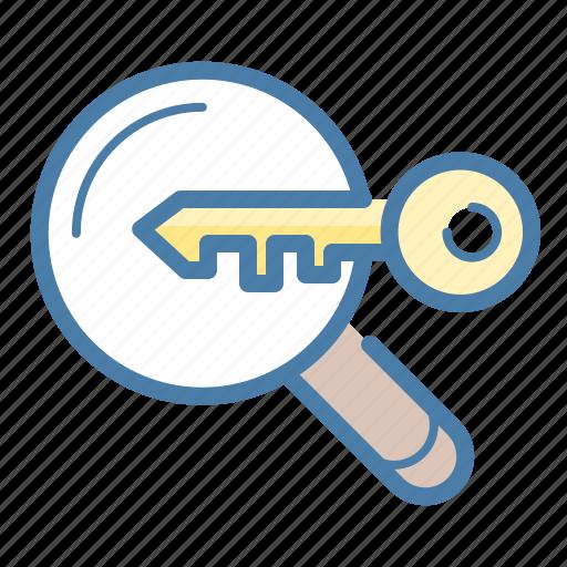 analytics, key, keyword, keyword engine, magnifier, research, searching icon