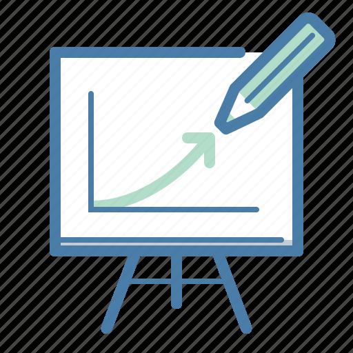 blackboard, growth, pencil, presentation icon