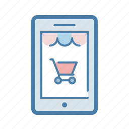 cart, ecommerce, mobile, phone, shop online, shopping bag, store app icon
