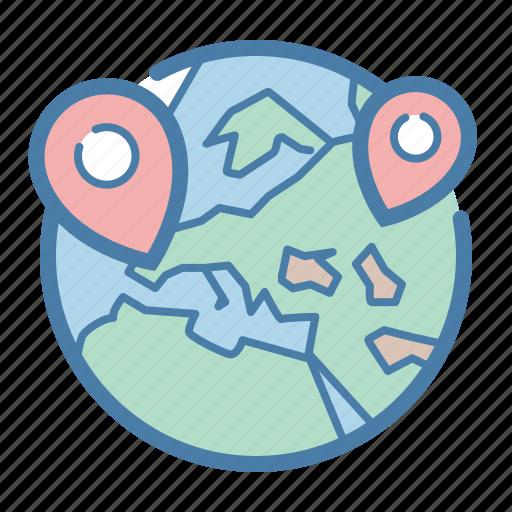 address, globe, locations, marker, pin, world, worldwide icon