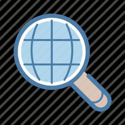 engine, international, language, localization, magnifier, search, world icon