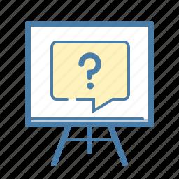 blackboard, lecture, powerpoint, presentation, question, report, survey icon