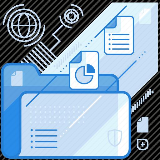 data, folder, management, media icon
