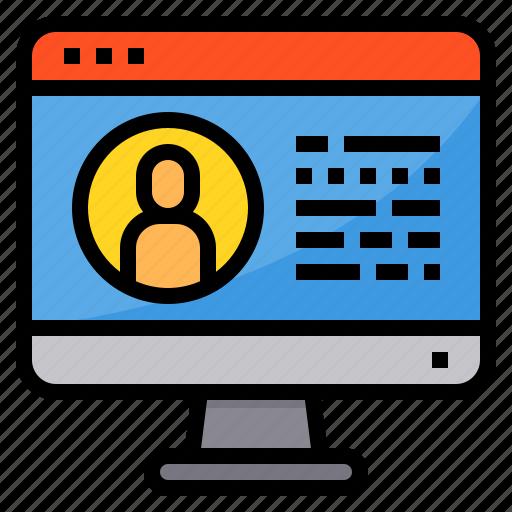 browser, computing, interface, internet, profile, ui icon
