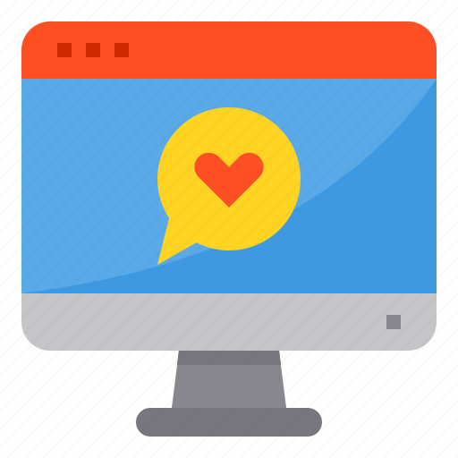 browser, chat, computing, heart, interface, internet, love icon