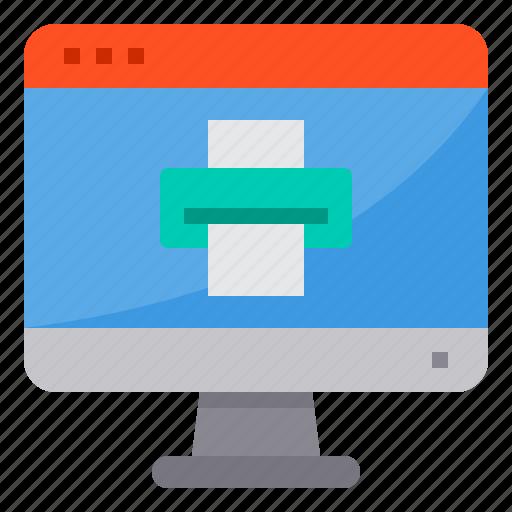 browser, computing, interface, internet, printer, ui icon