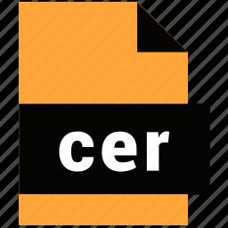 cer, file, format, website file, website file format icon