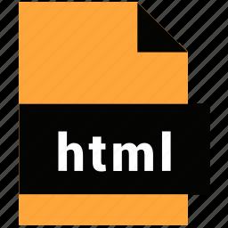 extension, file, html, name, website file, website file format icon