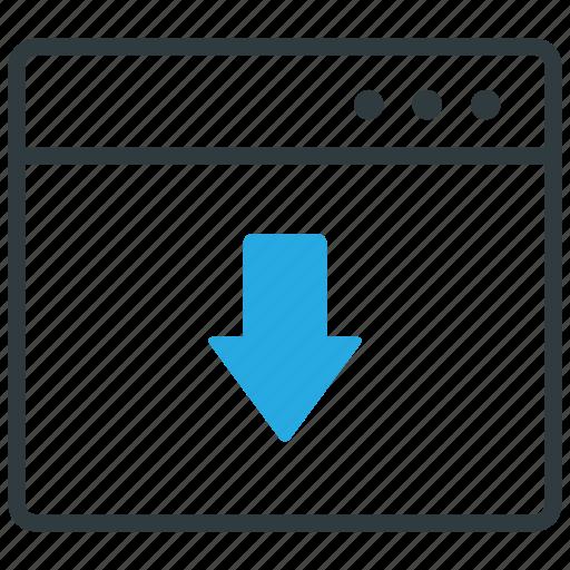 arrow, browser, down, website icon