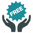 free, hands, insurance, like, service, sticker, support icon