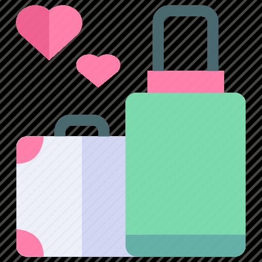 couple, love, pre wedding, suitcase, wedding icon