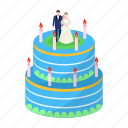cake, cream, dessert, treat, wedding icon