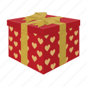 box, delivery, gift, present, surprise, wedding icon