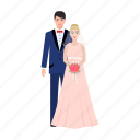 bride, groom, love, newlyweds, wedding