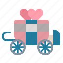 antique, carriage, transport, wedding icon