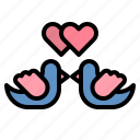 and, couple, doves, love, pigeon, romance, wedding icon