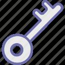 key, lock, privacy, protection, retro key icon