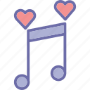 classical music, heart, instrument, love song, melody icon