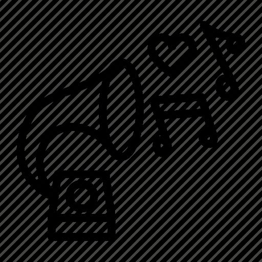 gramophone, instrument, multimedia, music, musical, sound, wedding icon