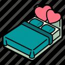 love, romance, double, bed, valentines, bedroom, wedding
