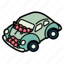 wedding, car, transportation, automobile, hearts, vehicle, transport