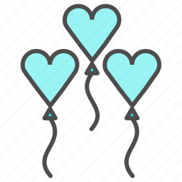 balloons, heart, love, valentine, wedding icon