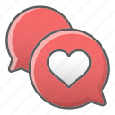 bouble, chat, communication, heart, message, valentine, wedding icon
