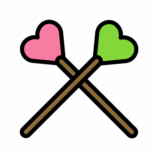 heart, love, marriage, party, sticks, wedding icon