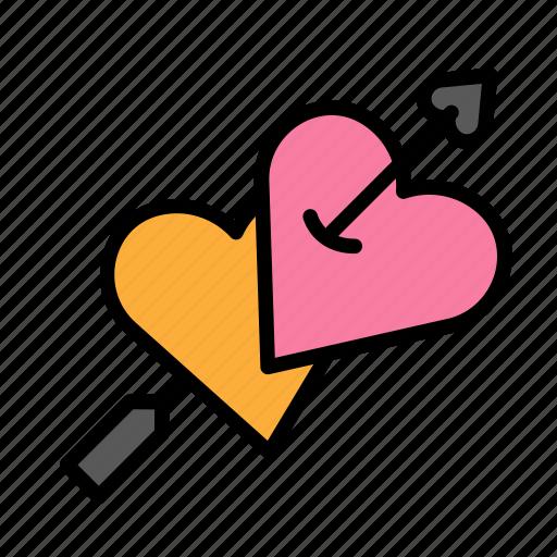 arrow, heart, love, marriage, party, s, wedding icon