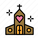 church, love, marriage, party, wedding icon