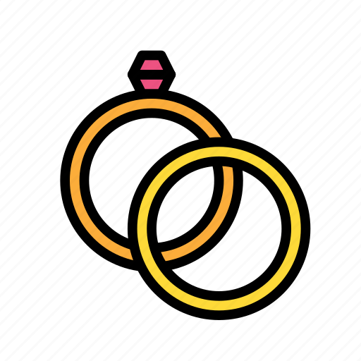 love, marriage, party, rings, wedding icon