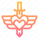 heart, protection, strong, sword icon