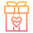 box, gift, heart, love, present, valentines icon