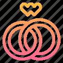 love, rings, v, wedding icon