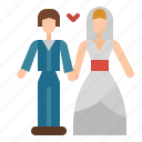 bride, couple, groom, man, marry, wedding, woman icon