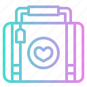heart, honeymoon, love, luggage, romance, suitcase icon