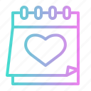 calendar, day, heart, love, romantic, wedding icon