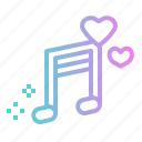 hearts, love, music, musical, player, song icon