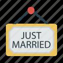 board, marriage, tag, wedding icon