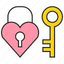 heart, key, lock, love, secret, security icon