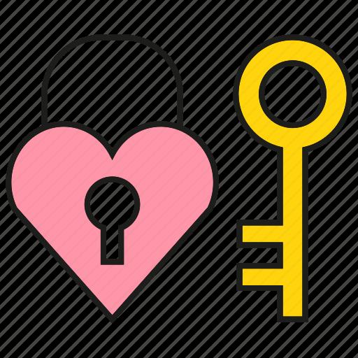 heart, key, lock, love, secret, security icon
