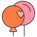 gift, heart, love, valloon icon