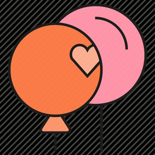 gift, heart, love, valloon icon