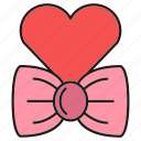 bow, heart, love, valentine icon