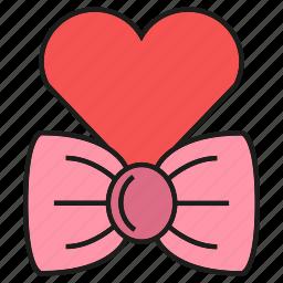 bow, heart, love, valentine icon