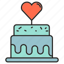 cake, heart, love, sweets, wedding icon